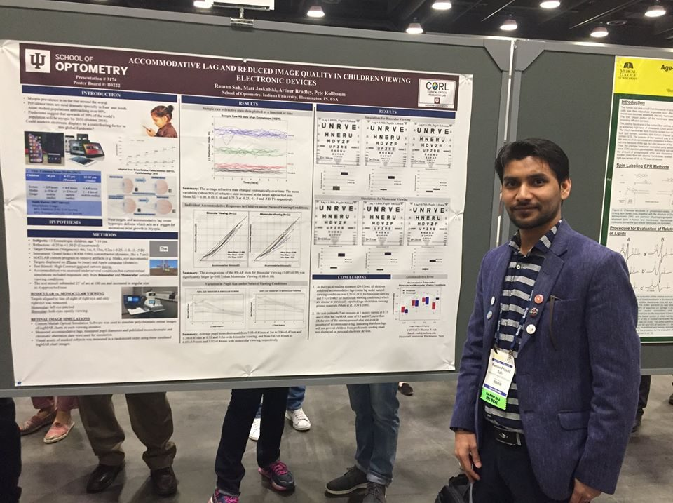 Raman Prasad Sah in front of his poster titled: Accommodative Lag and Reduced Image Quality in Children Viewing Electronic Devices
