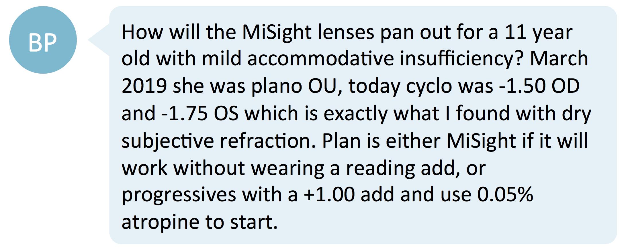 MiSight and near acuity